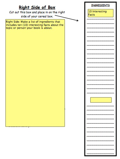 How to do a cereal box book report – Sample Cereal Box Book Report Template